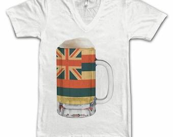 Ladies Hawaii State Flag Beer Mug Tee, Home State Tee, State Pride, State Flag, Beer Tee, Beer T-Shirt, Beer Thinkers, Beer Lovers Tee