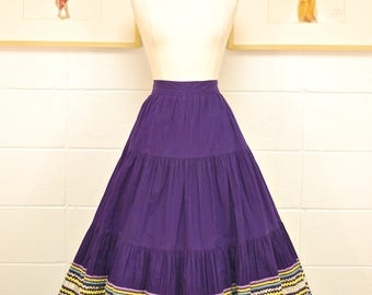 1940's/50's Purple Tiered Circle Skirt with Multi-Ribboned Trim / Swing Skirt / Pin Up / Rare Collectable Retro