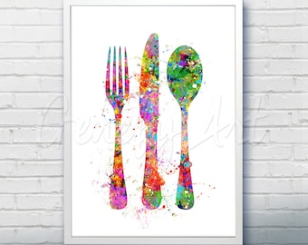 Kitchen Cutlery Fork Knife Spoon Watercolor Art Print  - Watercolor Art Painting - Dining Room Art - Kitchen Decor - House Warming Gift