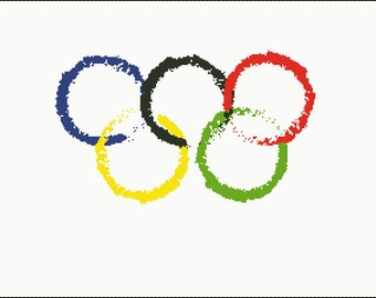Abstract Olympic Rings Counted Cross Stitch Pattern