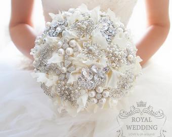 Ivory Wedding Bouquet Bridal Bouquet Brooch Bouquet Bridesmaid Bouquet Keepsake Bouquet White Bouquet Garters Jewelry Bouquet Wedding Hanger