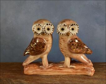 Ceramic Owl wedding cake topper with 24k gold trim, Greek Owl hand crafted  by Anita Reay Woodland wedding / Australian cake topper nst