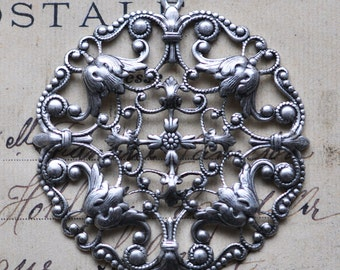 Round filigree pendant, Sterling Silver finish, Silver Filigrees Made in the USA, Silver Pendants