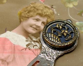 1800s BUTTON bookmark, Victorian flower button on silver. Unique present, gift, stocking stuffer.
