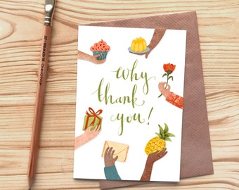Why Thank You Greetings Card, Gifts and Presents Thank You Card, Pineapple Cupcake Jelly Flower Card