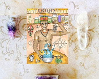 Voodoo Art High John the Conqueror Root Prayer Card Hoodoo Ritual Fantasy Art Conjure Pagan Art Spiritual Magick Witch Santeria Root Worker
