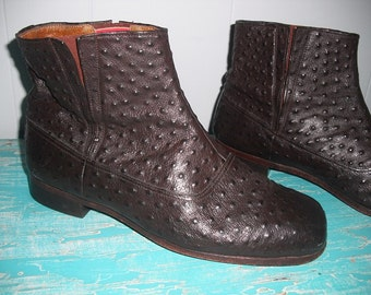 Vintage Leather Faux Porpoise Skin Ankle Boots Men's 12 fits like 9 or 9 1/2 Matador NICE