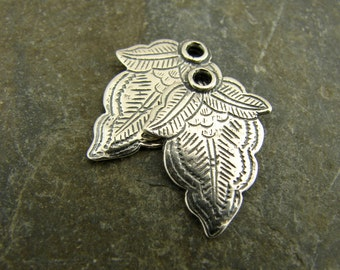 Paisley Leaf - Vintage Style Sterling Silver Leaf Charms - One Pair - LF18