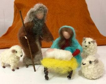 Needle felted nativity scene, needle felted wise men, needle felted magi, needle felted three wise men, wool nativity, wool wise men
