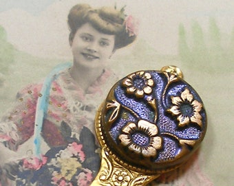 Blossoms BUTTON bookmark, Victorian flower button on gold. Unique present, gift, stocking stuffer.