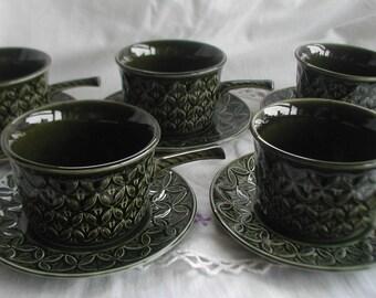 Set of 5 Tams Soup Bowls and Saucers Handled Soup Bowls Green Set