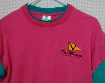 vintage 80s roll em sleeves T Shirt Hot Pink Des Moines Yacht Club Turquoise retro boating sailing tee Washington Puget Sound rare