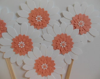 Flower Cupcake Toppers - Coral and White Daisies - Birthday Parties-Bridal Showers-Weddings - Baby Showers - Set of 6