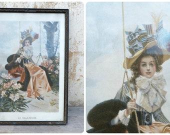 Vintage  Antique 1900 French La balançoire chromolithograph die cut framed under a glass/ stucco frame