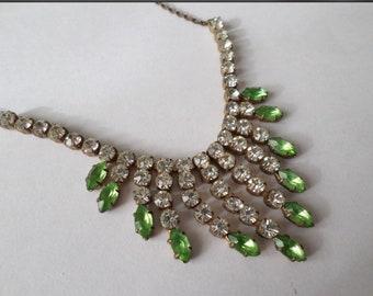 Vintage Edwardian  Green crystal  necklace