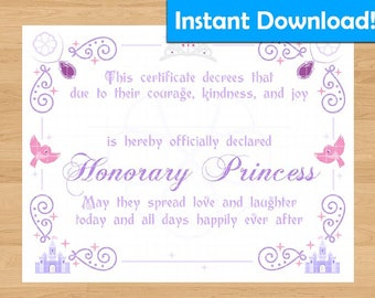 Sofia the First Inspired Princess Certificate - For Coronation Ceremony, Birthday Gift, Party Favors