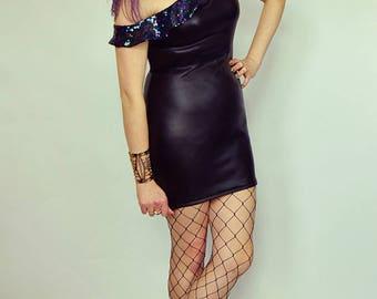 Bardot sequin dress Sequin ruffle dress One shoulder dress Black bodycon Sequin party dress