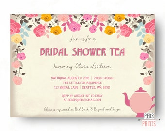 Bridal shower tea etsy floral bridal shower tea party invitations tea party bridal shower invitation floral bridal shower filmwisefo Images
