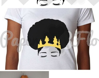 Afro SVG melanin svg afro cut file natural hair svg file black woman JPG file queen svg cut files cricut vinyl afro crown svg silhouette