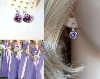 Handmade Pale Purple Swarovski Violet Crystal Fancy Square Radiant Cut Leverback Dangle Earrings, Bridal, Wedding (Sparkle-2626-V)