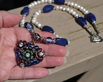 "ENAMEL HEART Pearl and Lapiz 26"" Long Necklace with Rhinestones on Enamel Heart"