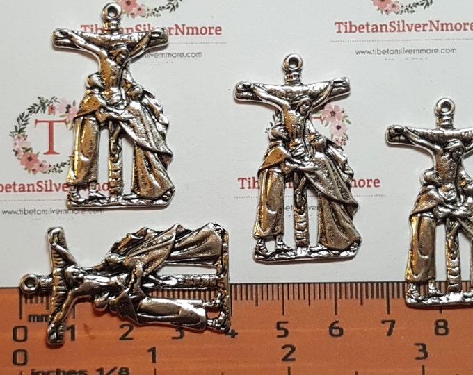 6 pcs per pack 40x21mm Medium Crucifix Antique Silver Lead Free Pewter.