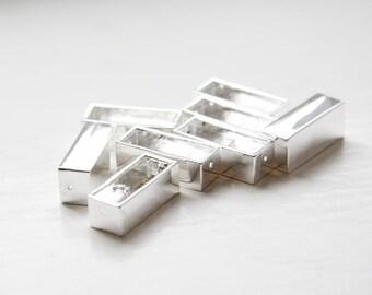 8 Pieces Beadalon Silver Plated Katiedids 19.5mm Stick Rectangle 2-Hole (100600)