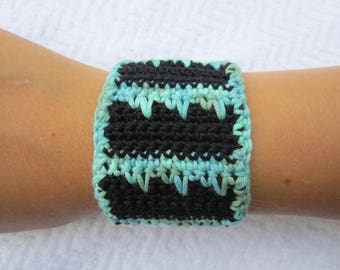 Crochet black or blue and turquoise two-tone Cuff Bracelet