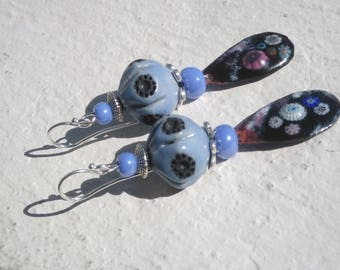 Earrings: Blue and Black - ceramic and copper enamel