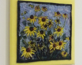 Needle Felted Wool Original Painting Wall Hanging of Black-Eyed Susans