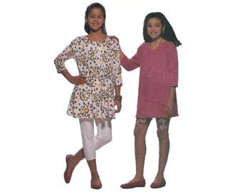 "1990s Butterick 6083 Girls' Dress, Tunic, Shorts, Leggings Size 7-8-10    Chest 26""/ 66cm - 28.5""/ 72cm    Vintage Sewing Pattern UNCUT"