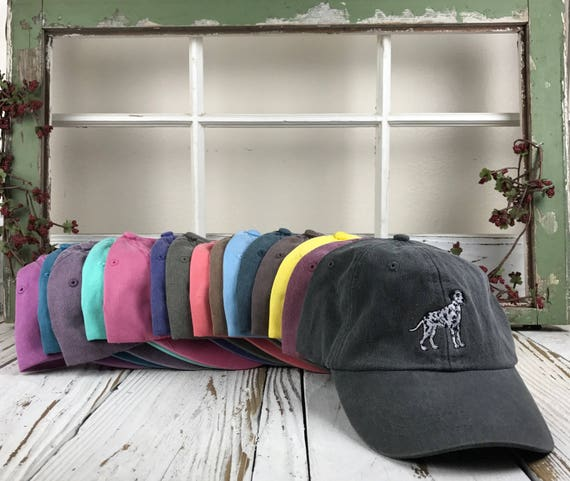 DALMATIAN Washed Dad Hat Pigmented Dye Curved Bill Finessed Dad Hats Dog Lover Baseball Hat, Many Colors