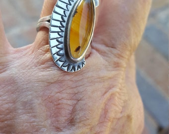 orange banded agate ring size 6 1/2 1970's genuine natural stone navajo estate vintage sterling ring