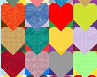 Tessellating hearts quilt PDF pattern