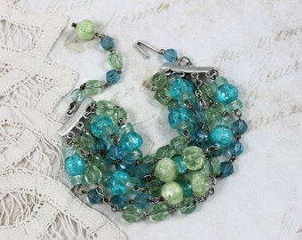 Vintage Lime Green and Aqua MultiStrand Assemblage Bracelet with Vintage Rosaries - MultiLayered Chunky Boho Chic - by Boutique Bijou