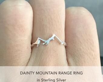 Mountain Range Ring, Mountain Ring, Silver Mountain Ring, Nature Ring, Mountain Are Calling, Nature Lover Gift, Dainty Ring, Mountain, Gift