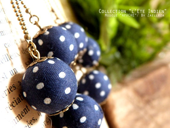 "Navy Blue earrings with White Pearl dots fabric APACHE - Collection ""Indian summer"""