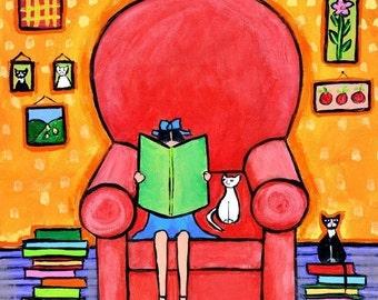 Books white cat girl reading  - Shelagh Duffett Print