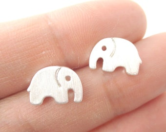 Small Elephant Silhouette Shaped Stud Earrings in Silver  | Handmade Animal Jewelry