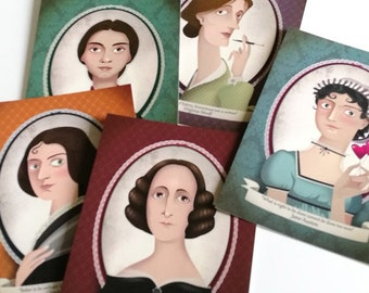 5 literary postcards - Jane Austen,Virginia Woolf, Mary Shelley, Charlotte Bronte and Emily Dickinson - Special gift for  book lovers
