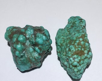 2pc Rare 12.3g Authentic Natural Raw Morenci Turquoise Crystal Nugget Set - Morenci, Arizona, USA - Item:TQ17009