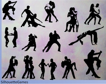 Dancer silhouettes, bachata, salsa, Instant Download Digital Dancers Silhouettes Clip Art Silhouettes Dancer Clipart , PNG, SVG