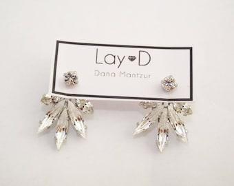 Silver Bridal Jewelry, Wedding Earrings, Crystal Earrings, Silver Crystal Earrings, Ear Jackets, Silver Wedding Earrings, Silver Ear Jacket