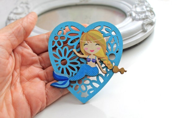 Little mermaid  wooden brooch kawaii sweet lolita egl  blue heart