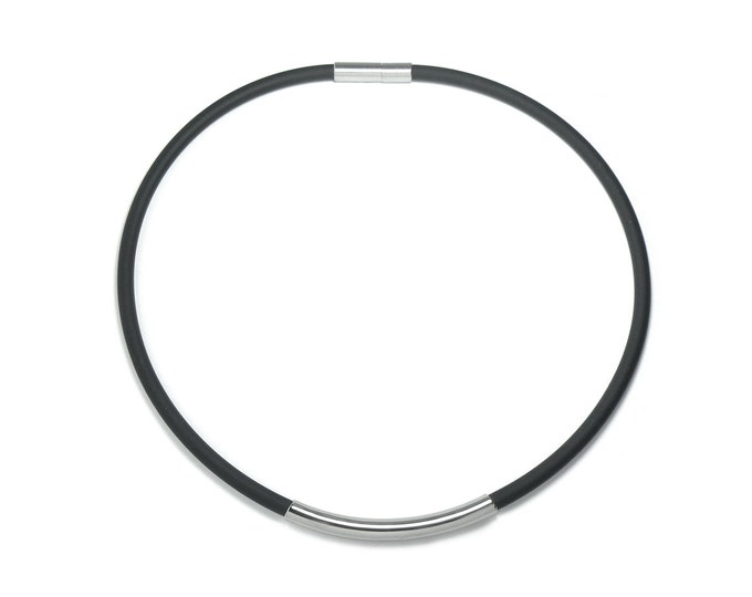 Mens Black Rubber Necklace with Stainless Steel Tube