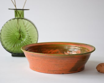 Vintage Danish Studio Pottery - Orange & Green Bowl - Flower Decor - Danish Mid-century Pottery