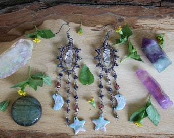 Vintage Ceramic Moon & Stars Earrings with Clear Quartz, Iolite, Rainbow Hematite and Czech Glass