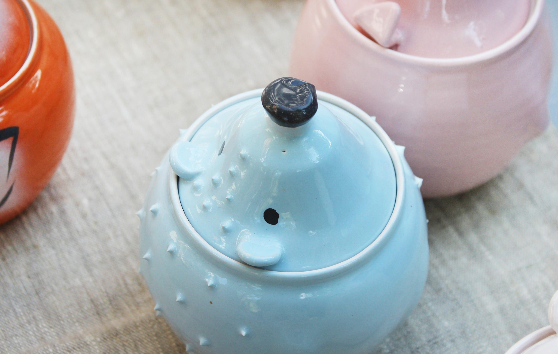 Blue Hedgehog Pottery Container Kitchen Storage Unique Ceramic