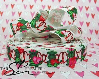 "7/8""  Valentines Heart Grosgrain Ribbon"
