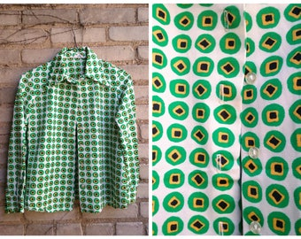 ON SALE / Polka Dot Weird Patterned 1970s Button Up Collared Judy Wayne
